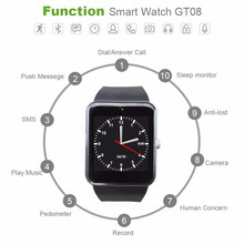 Gt08 Android Phone SmartWatches, Bluetooth Connectivity, with Sim Card and Push Messages