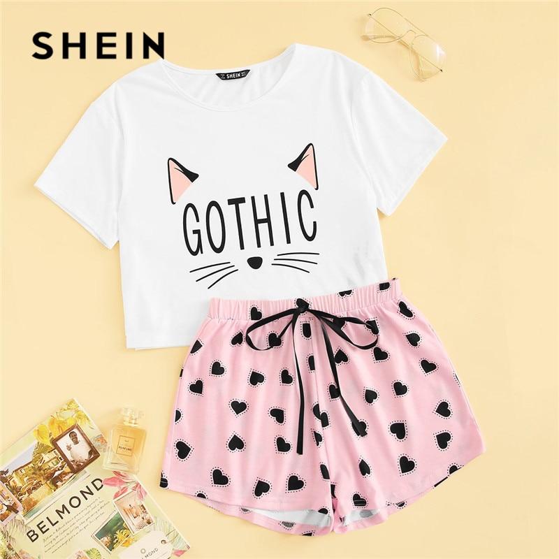 SHEIN Cat Print Tshirt And Heart Elastic Waist Shorts Casual Sleepwear Women Summer Cute Round Neck Short Sleeve Pajama Set