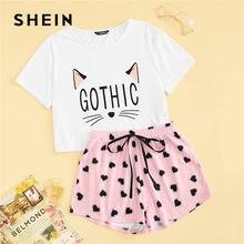 d01271a90e SHEIN Cat Print Tshirt And Heart Elastic Waist Shorts Casual Sleepwear  Women Summer Cute Round Neck Short Sleeve Pajama Set