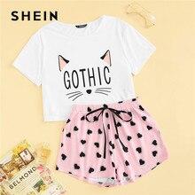 Shein conjunto camiseta e bermuda feminina, pijama estampado de gato e coração cintura elástica, casual, verão, fofo, gola redonda, manga curta