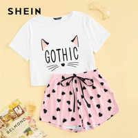 Shein gato impressão tshirt e coração elástico cintura shorts casual sleepwear feminino verão bonito em torno do pescoço manga curta conjunto de pijama
