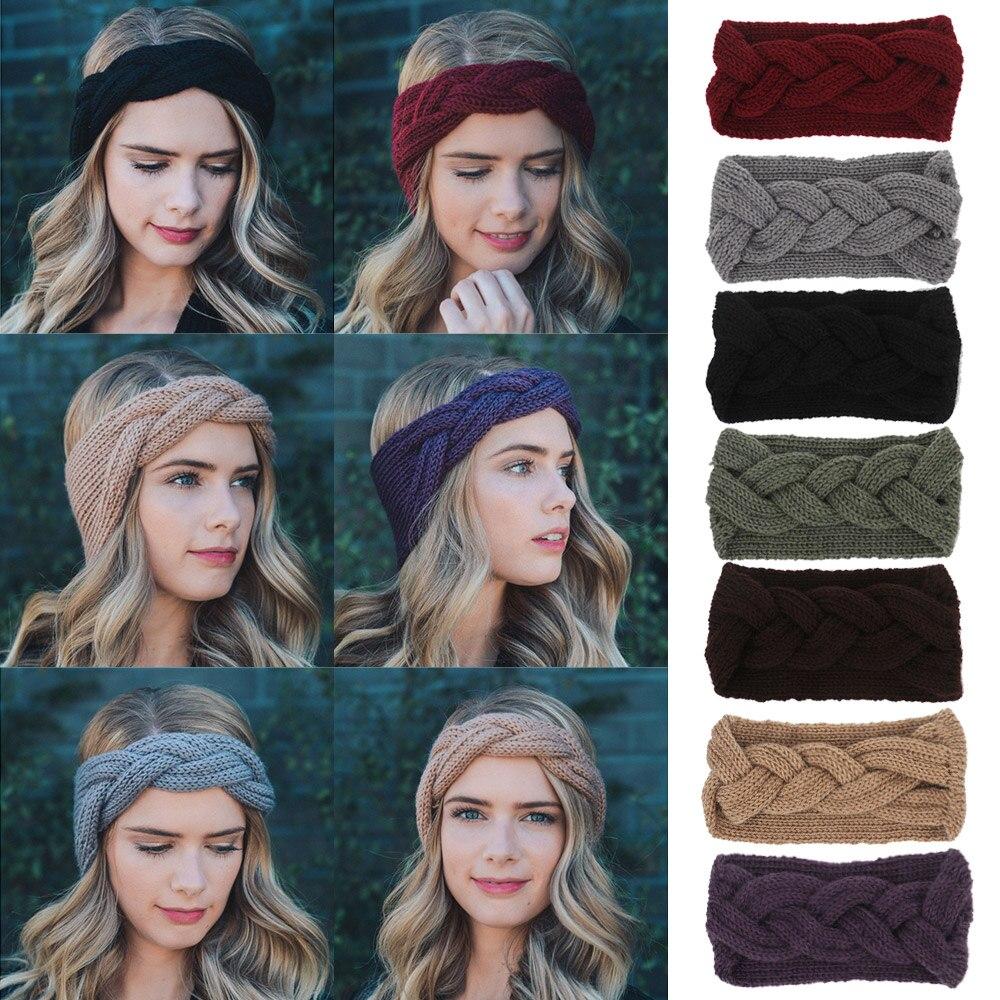 Fish Knit Wool Women Headband Girl Woolen Crochet Turban Earband Handmade Bowknot Wide Headwrap Winter Hair Accessories