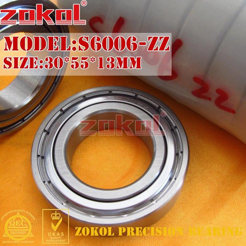 ZOKOL bearing 6006 ZZ S6006 ZZ Z 80106 Stainless steel S6006-ZZ Deep Groove ball bearing 30*55*13mm s634zz stainless steel deep groove ball bearing 4x16x5mm miniature bearing ss634zz 4 16 5