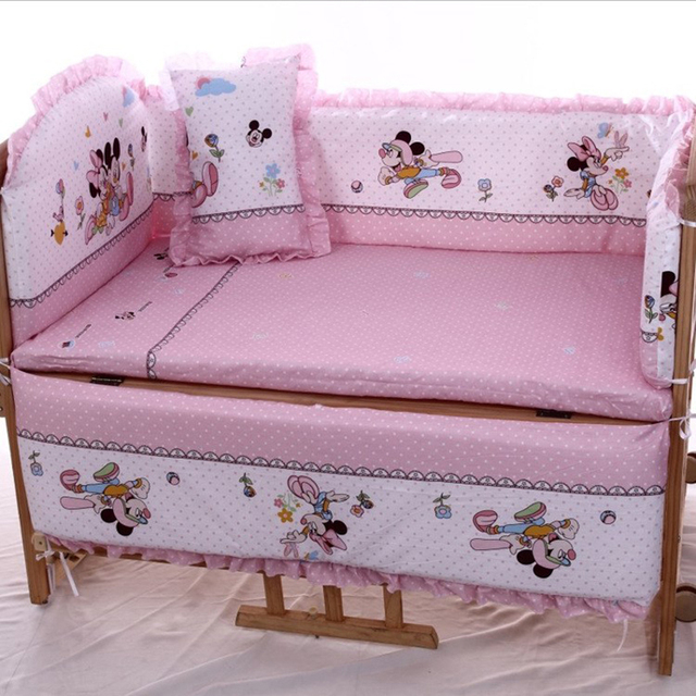 2016 Real Baby Cot 5 Pics Baby Bedding Set Mickey Minnie Mouse Crib 100%Cotton Bedclothes Include Pillow Bumpers Mattress