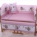 2016 real cuna 5 fotos baby bedding set mickey minnie mouse ropa de cama cuna 100% algodón incluir almohada bumpers colchón