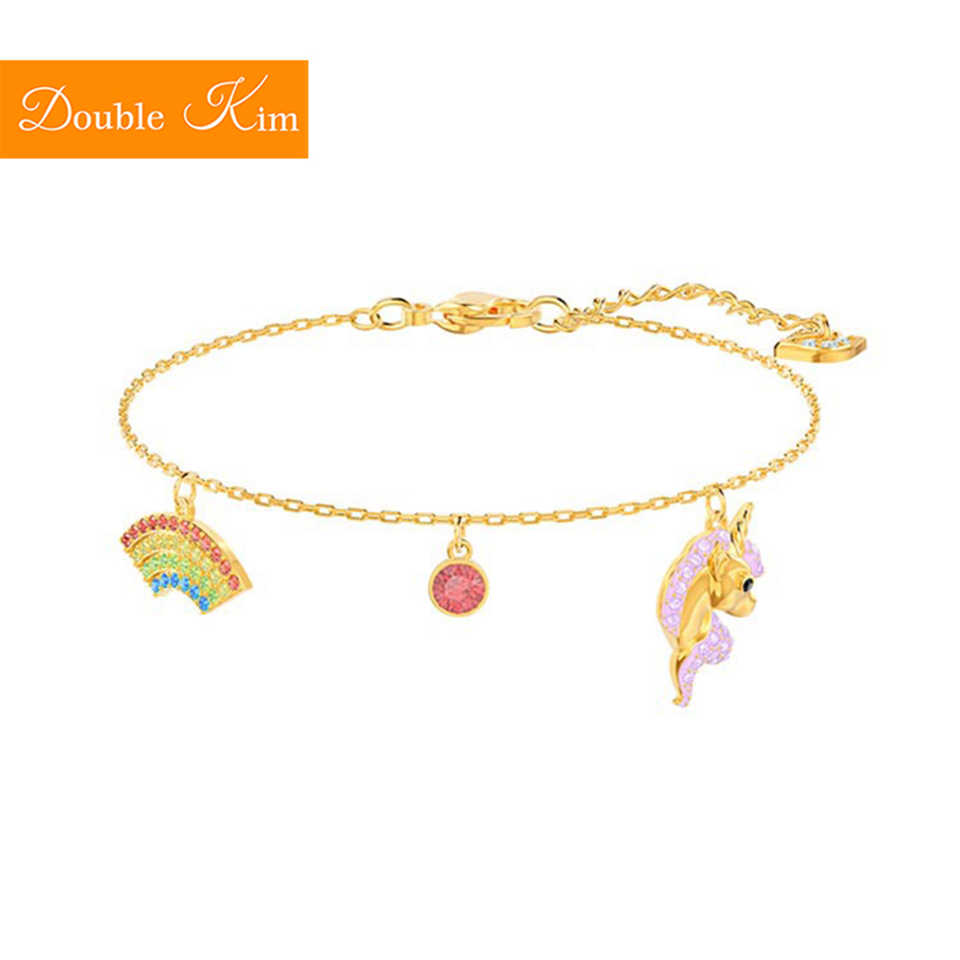 Rainbow Pegasus Bracelet Copper Alloy Material Inlaid Zircon Gold Color Trendy Fashion Bracelets Trendy Women Jewelry Gift