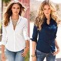 Chemise femme partes superiores das mulheres da moda inverno 2016 blusa branca de manga comprida camisa mulheres blusas camisas de escritório blusas y camisas mujer