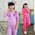 Conjunto de roupas meninas primavera flor terno do esporte adolescente roupas meninas conjunto de roupas crianças 3-12 anos roupa dos miúdos da escola treino