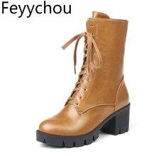 Женские ботинки Осень-зима, высокий каблук, теплые, на молнии, платформа, до середины икры, круглый носок, ботинки на шнуровке г. Pu искусственная кожа, новая мода, черный цвет, большой размер 34-46