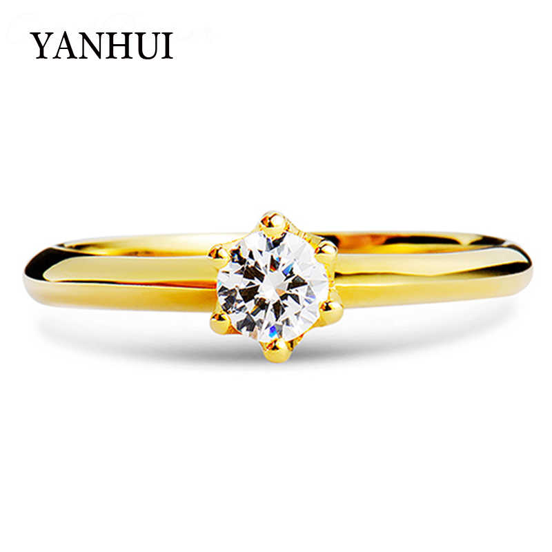 YANHUI Real Pure 925 Sterling Silver Wedding Rings Gold Color Cubic Zirconia Solitaire Band Engagement Rings For Women R040J