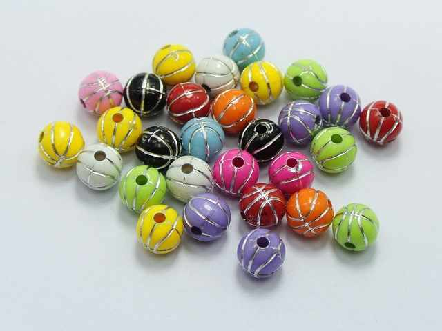 200 Mixed Colour Sparkling Silver Dots Acrylic Round Beads 8mm Spacer Beads