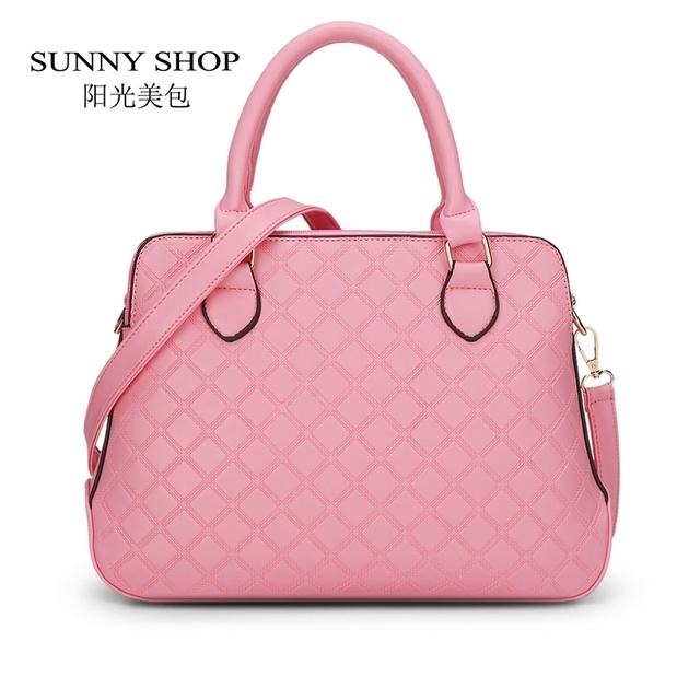 SUNNY SHOP  3 Bag/Set  New  Brand Designer Women Bag Plaid Fashion Femal Shoulder Bag High Quality Lady Messenger Bag Pink Color