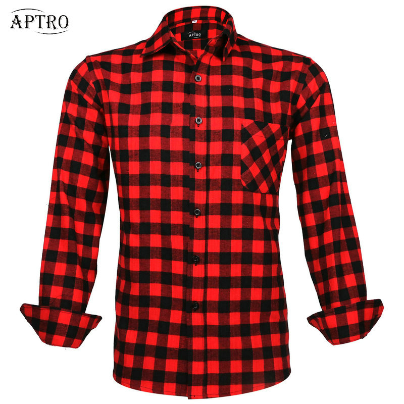 2016 men 39 s casual cotton red plaid flannel shirt long for Red plaid dress shirt