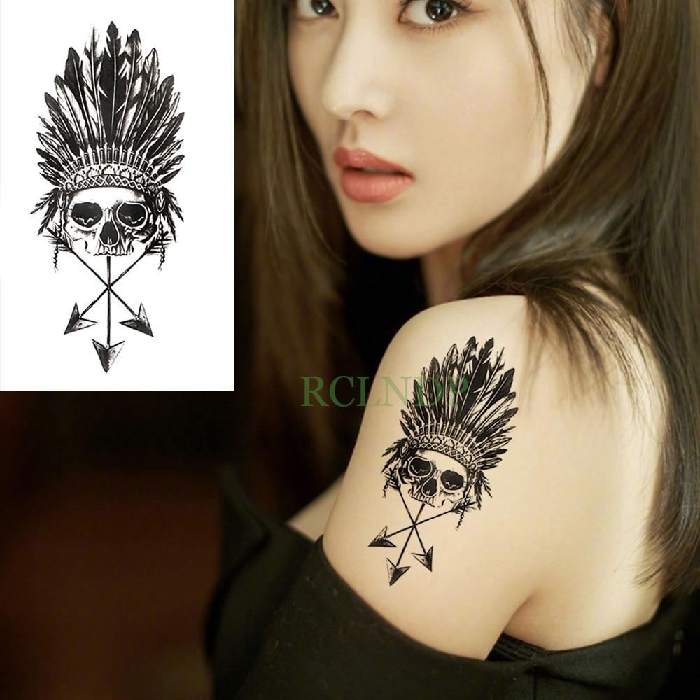 Waterproof Temporary Tattoo Sticker Skull Head Feather Fake Tatto Flash Tatoo Tatouage Wrist Foot Hand Arm For Girl Women Men