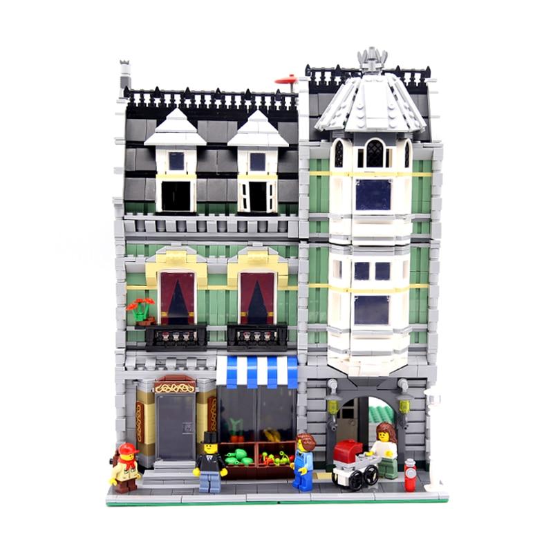 Lepin 15008 2462Pcs City Street Green Grocer Model Building Kits Blocks Bricks Educational Toys Gifts For Kids Compatible 10185 15008b 2462pcs dhl city street green grocer model building kits blocks bricks toys gifts compatible 10185 lepin