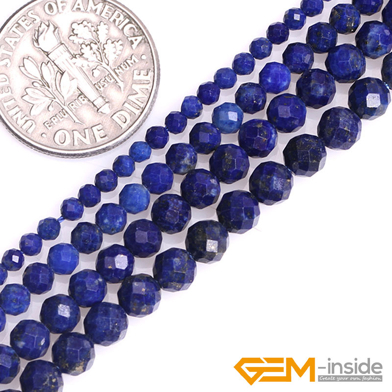 2mm 3mm 4mm 5mm Natural Blue Lapis Lazuli Gem Stone Semi Precious Round Faceted Spacer Beads For Jewelry Making Wholesale