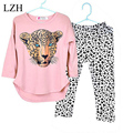 LZH Girls Clothes Sets 2017 Spring Kids Clothes Long Sleeve Cotton T-shirt+Leopard Pant Outfit Girl Sport Suit Children Clothing
