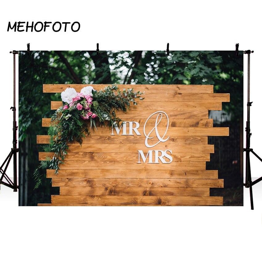 MEHOFOTO Wedding Backdrop Photography Rustic Bohemian Wood