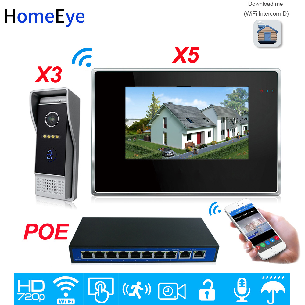 720P WiFi IP Video Door Phone Video Intercom 3-5 Home Access Control System Android IOS App Remote Unlock Touch Screen POESwitch