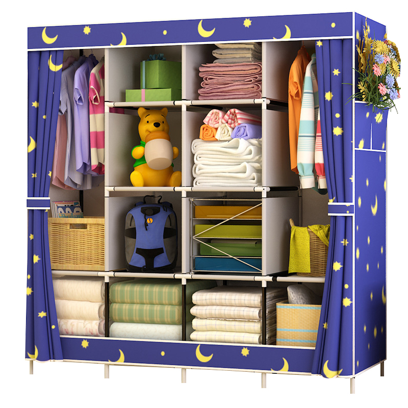 Best Price Reinforcement Large Wardrobe Cloth Wardrobe Fabric Closet Folding Clothing Storage Cabinet Dustproof Wardrobe shelf