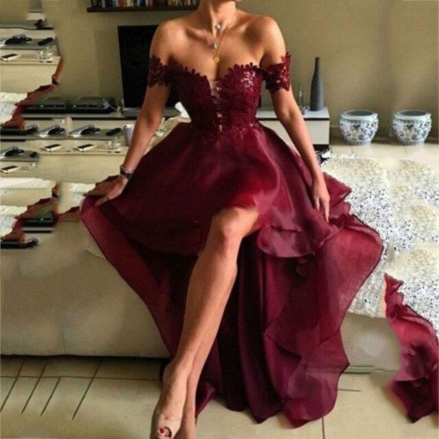 את כתף גבוהה נמוך בורגונדי שושבינה שמלות סקסי אפליקציות ללא משענת לנשף שמלות Vestido דה festa