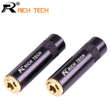 3pcs Smooth Black Jack 3.5 Audio female jack 3.5mm 3 pole Stereo socket Gold Plated Wire Connector RICH TECH Earphone DIY