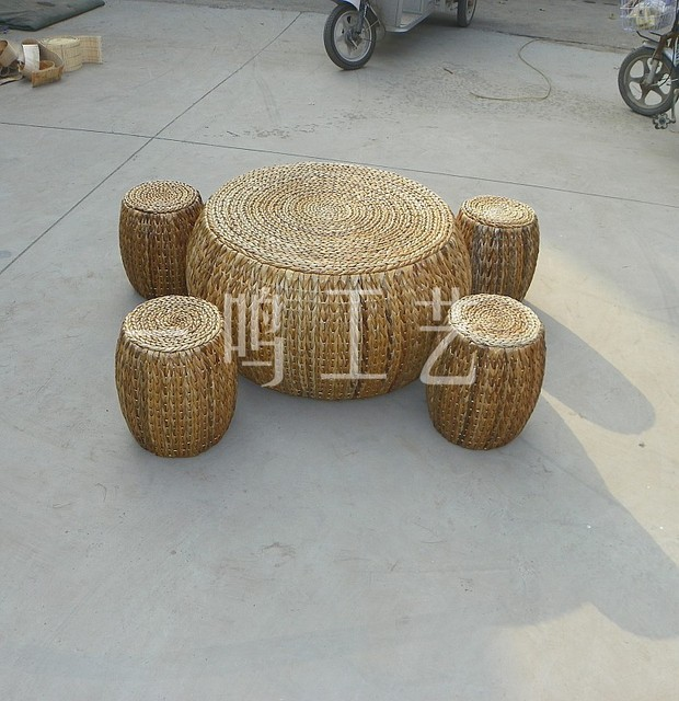 Pastoral Banana Leaf Rattan Round Coffee Table Round Table And - Banana leaf coffee table