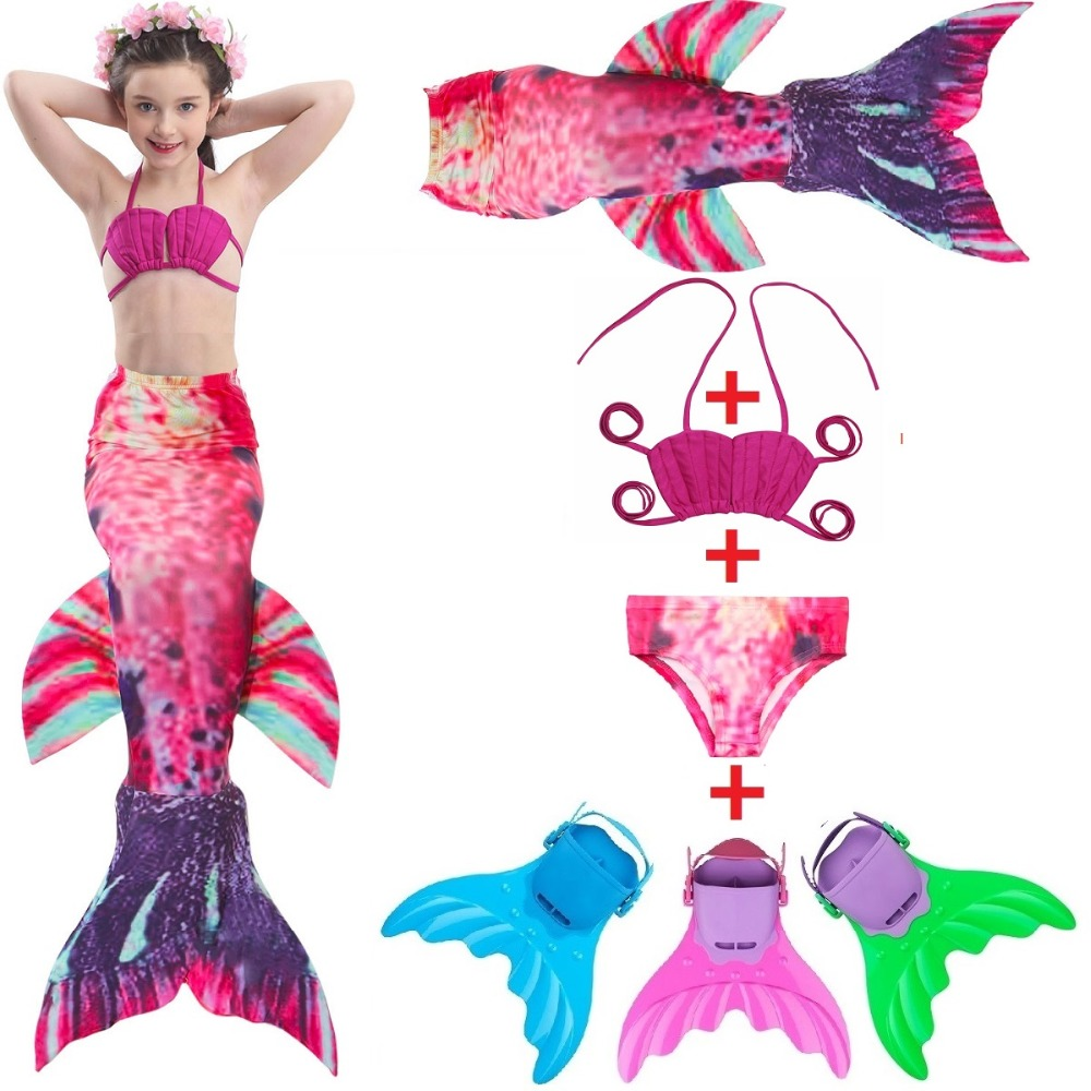 Mother & Kids 2018 Fairy Mermaid Swimsuit For Kids Girls Mermaid Tail With Flipper Beach Wear Suit Swimming Dress Cosplay Costumes New