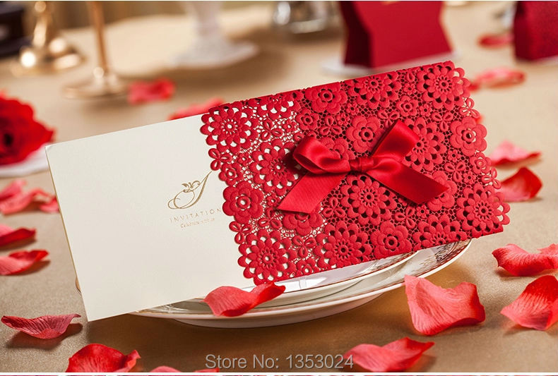 50 Pcs Convite Laser Cut Red White Wedding Invitation Card Favors Accessories In Festive Party Supplies From Home Garden On