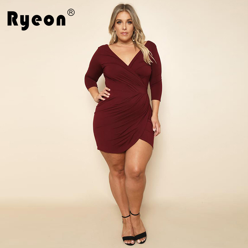 Ryeon Vestido Sexy Bodycon Dress Autumn Winter Plus Size Women Black Wine  Red Long Sleeve Mini Party Office Dress Big Sizes Xxxl 53b70b57c386