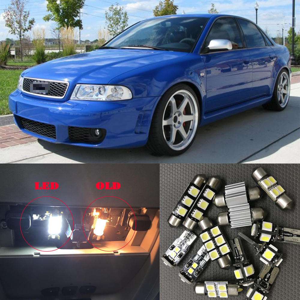 17pcs Canbus White Car LED Light Bulbs Interior Package Kit For 1996 1997 1998 1999 2000 Audi A4 B5 Map Dome License Plate Lamp free shipping 60 17x a4 s4 b5 1998 2001 white led lights interior package kit canbus