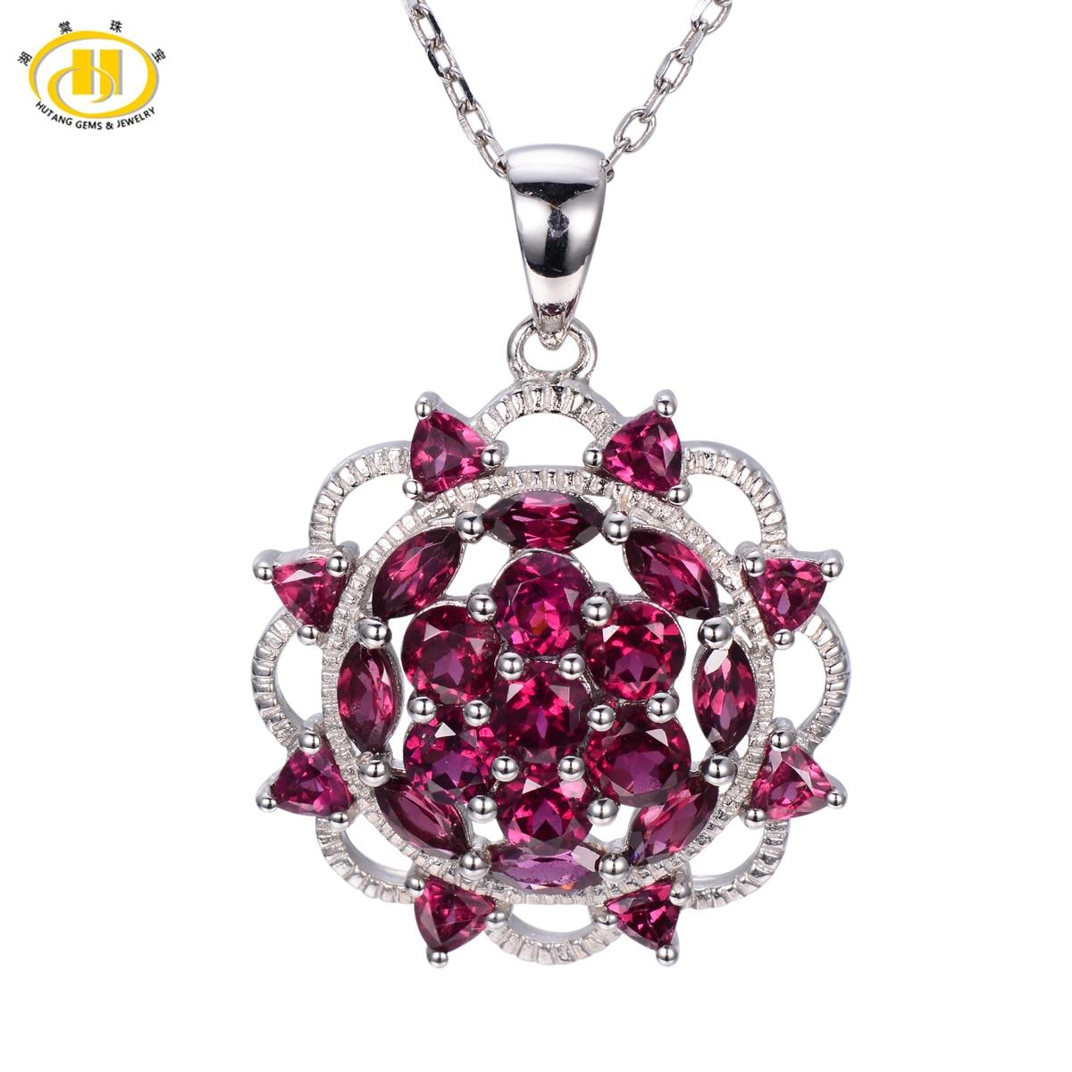 Hutang New Arrival Rhodolite Garnet Pendant Solid 925 Sterling Silver Necklace Women's Fine Jewelry Gemstone Gift