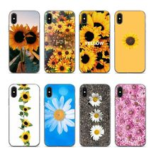 Summer Daisy Sunflower Floral Transparent edge Soft silicone Cover case for iPhone 5s 6 6plus 6s 7 8 7plus 8plus XR X XS max