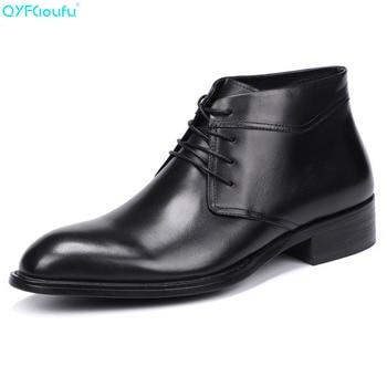 QYFCIOUFU Genuine Leather Men Chelsea Boots New 2019 Men Autumn Winter Genuine Leather Casual Ankle Boots Men Dress Boots Shoe