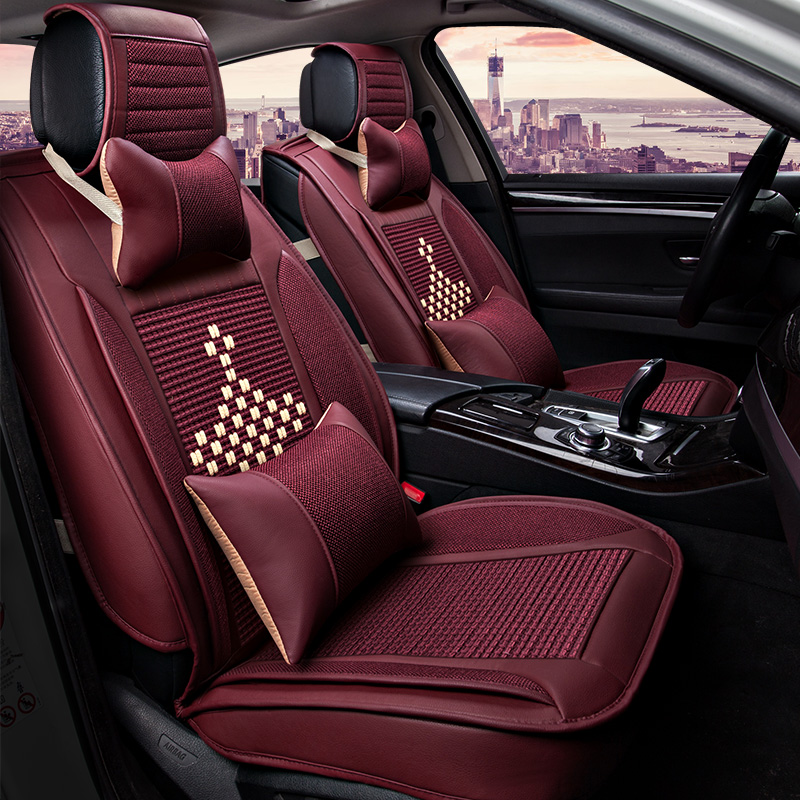 2018 New Ice Silk Car seat cover Breathable seat cushion Support Summer 5 seat Covers for benz mercedes w211 t211 w212 styling