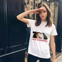 90b1a4e29 Poleras De Mujer Moda 2018Life Is Boring Printing Harajuku Kawaii T Shirt  Women Plus Size Streetwear