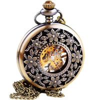 WOONUN Luxury Brand Mechanical Clock Watch Fashion Vintage Skeleton Mechanical Hand Wind Pocket Watch For Women Fob Watches