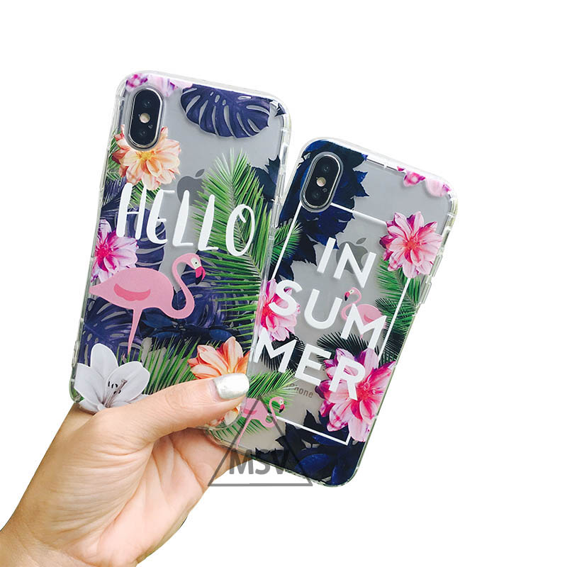 Galleria fotografica Lovely Colorful Flamingo Case Cover For iPhone 6 6S 7 7X 8 Plus Fashion Palm Leaf Relief Painting Cartoon flower Phone Cases