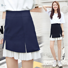 Female New summer Pleated stitching skirt A-Line college Style cute skirt three colors