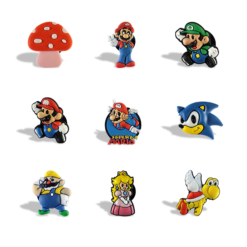 9pcs Super Mario Bros Cartoon Pvc Cute Stationery Stickers For Kids Blackboard Magnets Office School Supplies Kids Party Favor