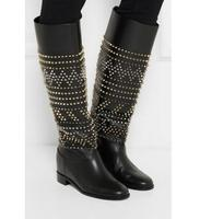 2017 Winter Warm Fashion Boot Hot Sale Black Leather Studded Knee High Boots Flat Heel Shoes Women Rivets Embellished Long Boots
