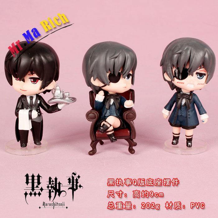 Livraison Animation japonaise 3 pièces/ensemble kuroshisuji Pvc Action & jouet figurines modèle jouets anniversaire cadeau décoration artisanat