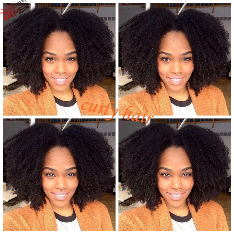 ФОТО Middle Free Part Afro Curl Wig Hot Selling Lace Front Deep Curly Brazilian Hair Heat Resistant Kinky Curly Wigs Synthetic Wigs