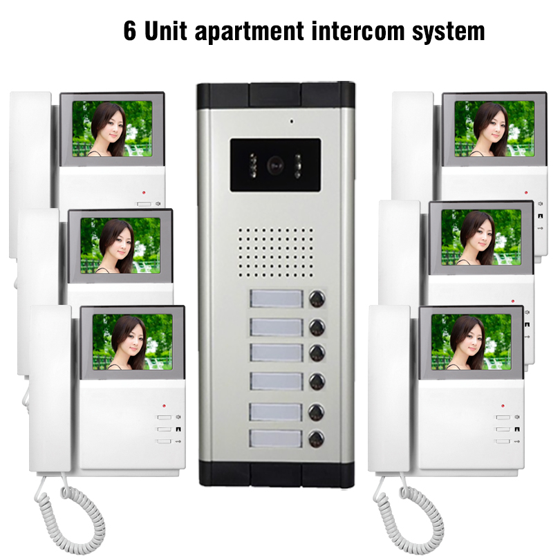 "Apartment Guide App: 6 Units 4.3"" Apartment Video Door Phone Intercom System 1"