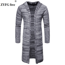 Mens Casual Cardigan sweater knitwear Men Winter longer Hooded Sweater Coat Fashion colored wool Stitching plus size 3 Colors