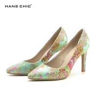HANSCHIC 2017 New Arrival Chinese Embroidery Green Floral RetroLadies Women High Spike Heels Pumps Shoes For