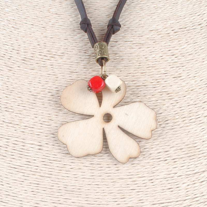 wooden clovers pendant collares mujer choker necklace women Long Necklace CLOVER JEWELLERY