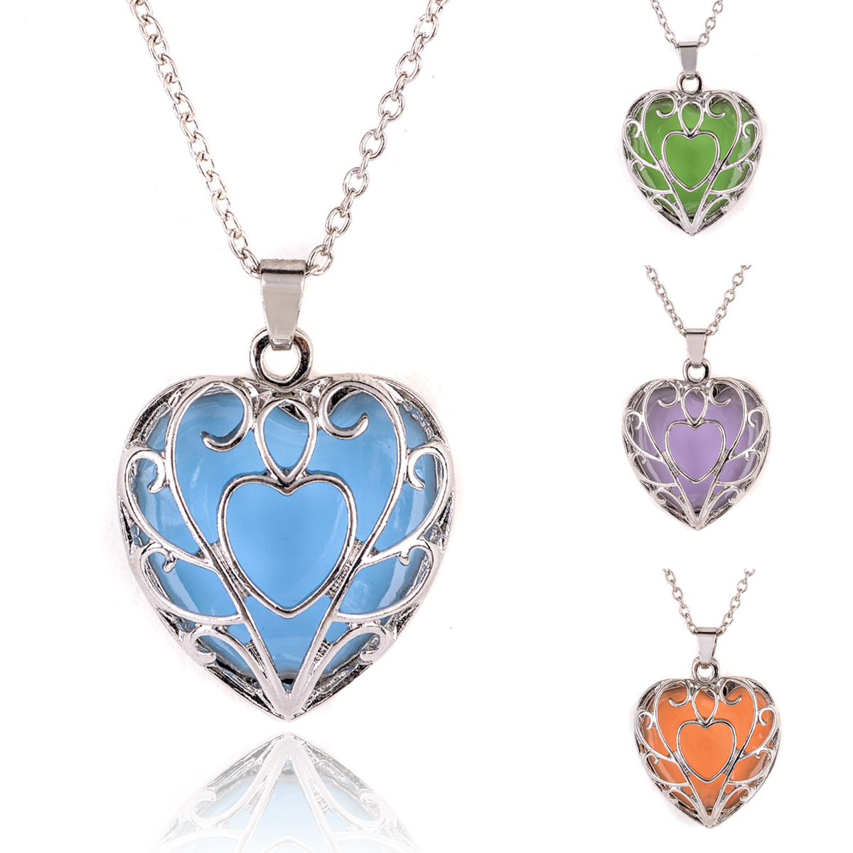 Vintage Luminous Choker Necklaces Shellhard Glow In The Dark Heart Pendant Locket Necklace For Women Fashion