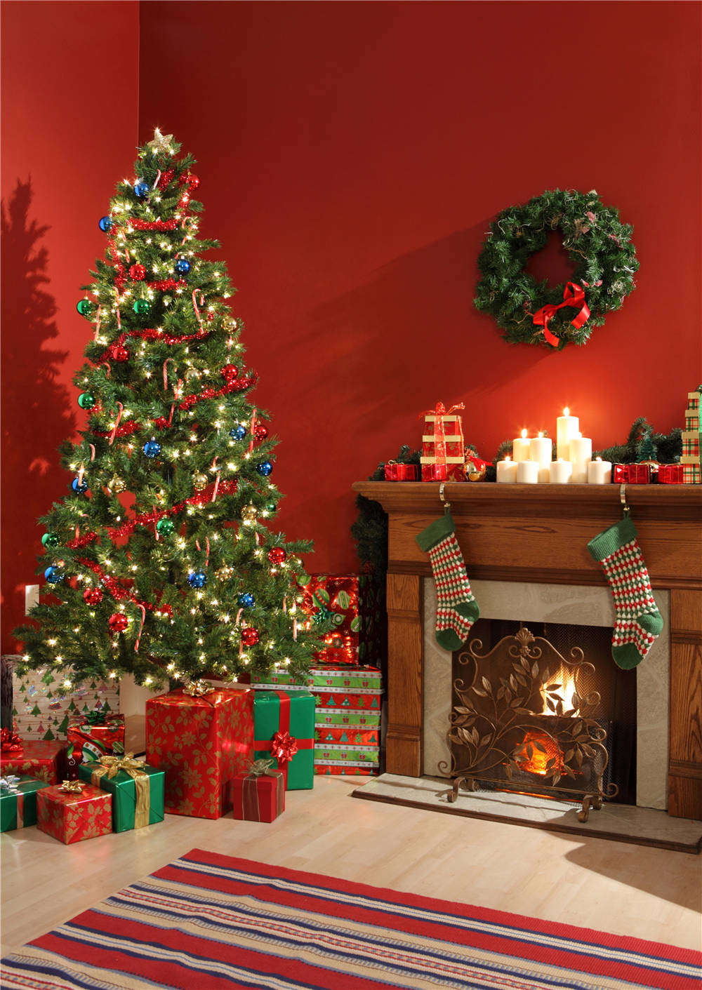 Vinyl 5x7ft or 3x5ft Fireplace Photography Backdrops Christmas Tree Gift Photo Props Studio Background christmas006 shengyongbao 300cm 200cm vinyl custom photography backdrops brick wall theme photo studio props photography background brw 12