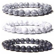 Браслет из Натуральной Черной Лавы, камня, бусин, мужской браслет, модные белые бусины бирюзы, браслет для женщин и мужчин, ювелирные изделия